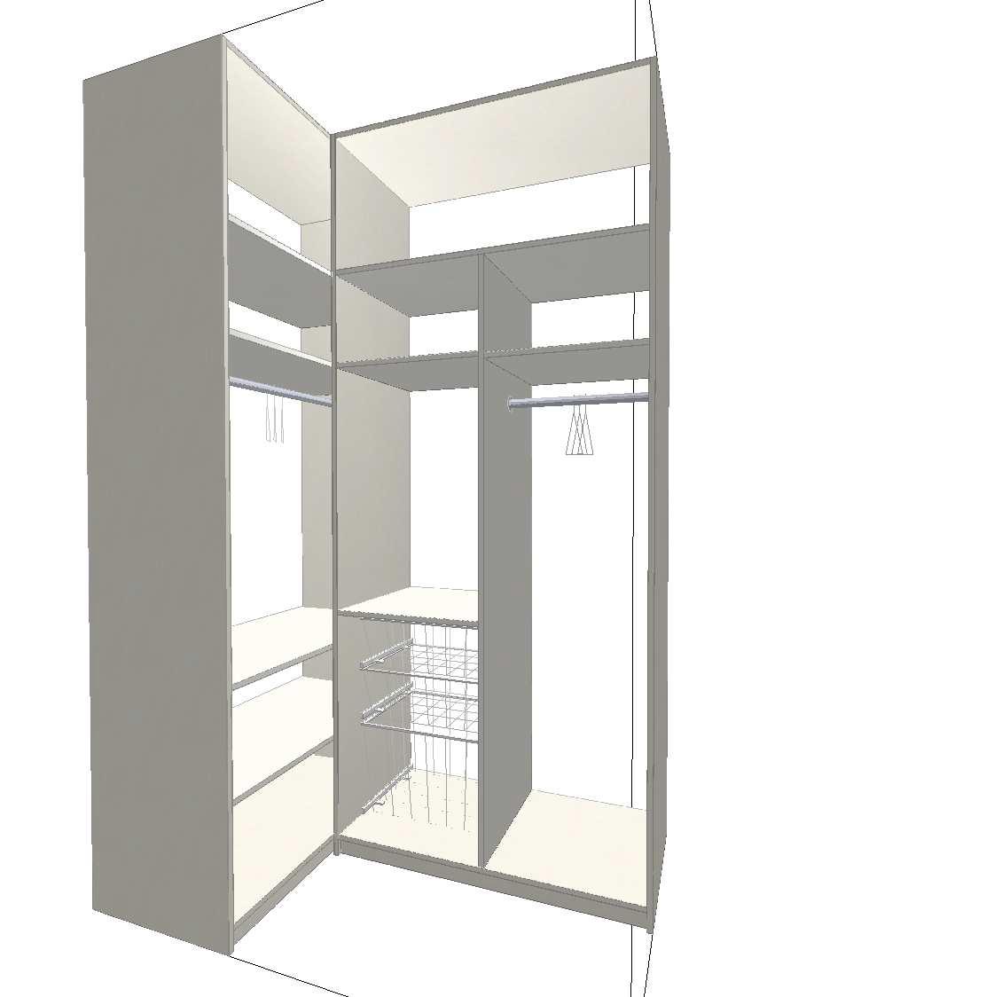 Levná rohová skříň bez dveří
